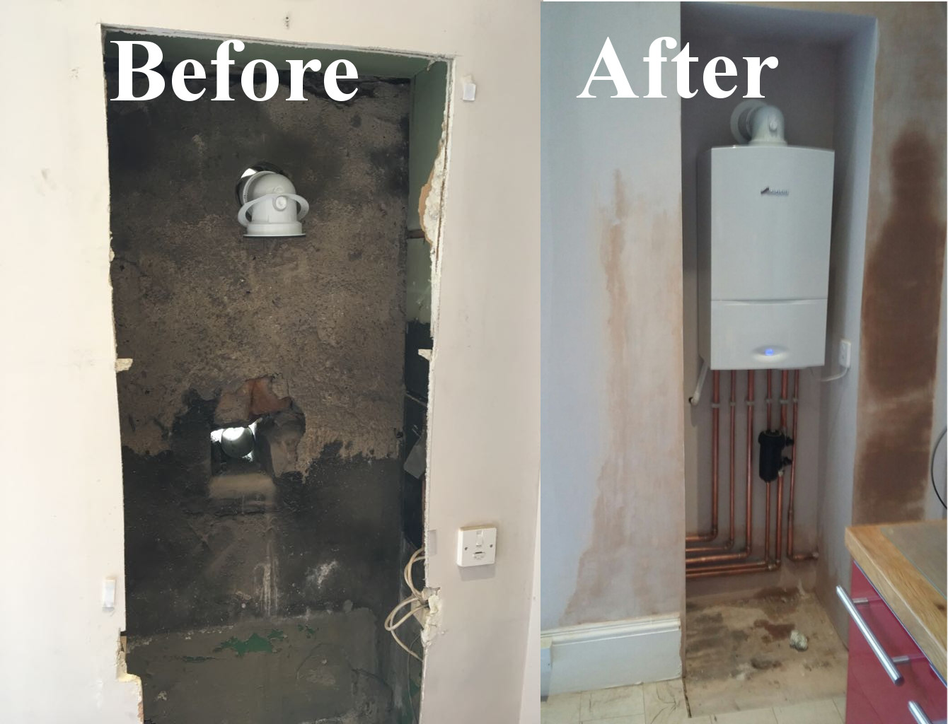 Boiler replacement paisley services before and after photo of boiler installation